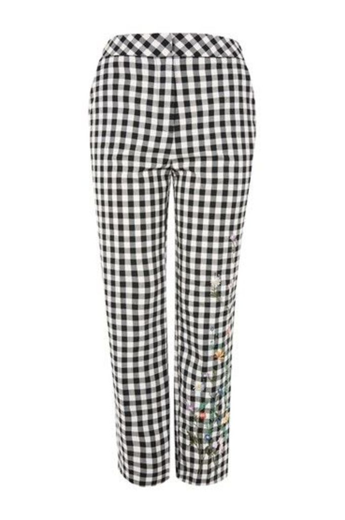 Womens Embroidered Gingham Trousers - Monochrome, Monochrome