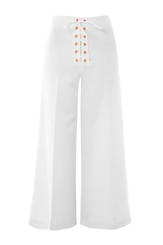 Womens Lace Up Wide Leg Crop Trousers - Ivory, Ivory