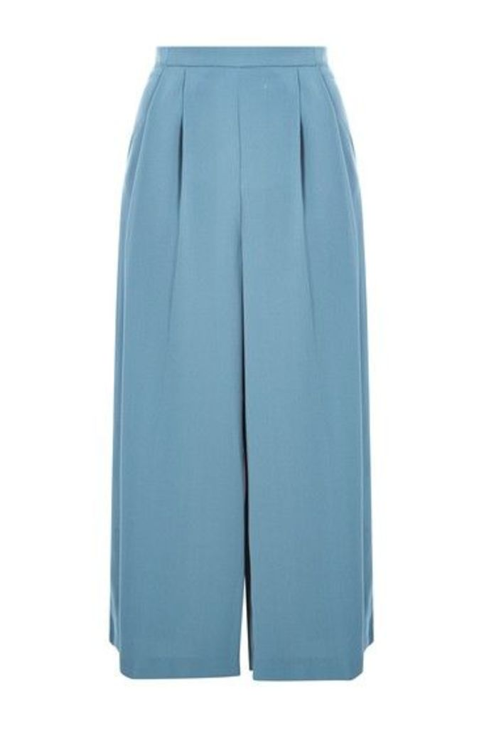 Womens Crop Wide Leg Trousers - Dusty Blue, Dusty Blue