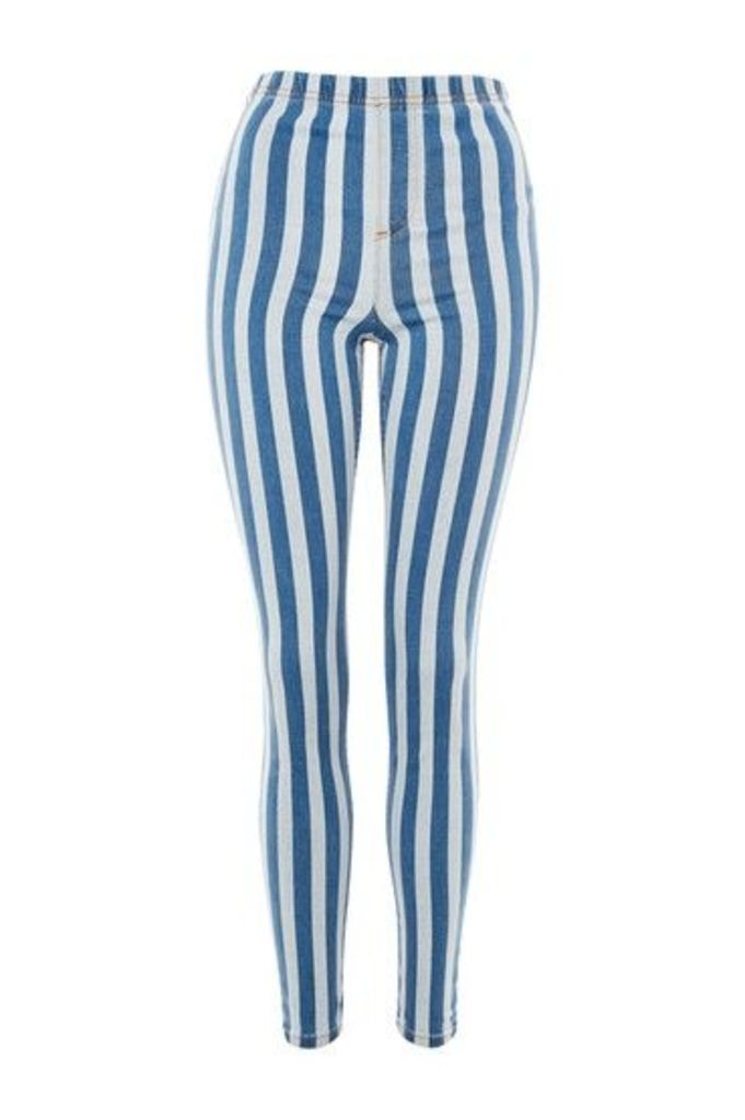 Womens Stripe Denim Jeggings - Navy Blue, Navy Blue