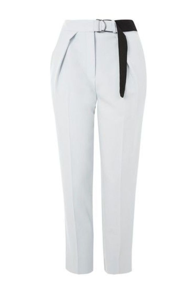 Womens Belted Cropped Cigarette Trousers - Ice Blue, Ice Blue