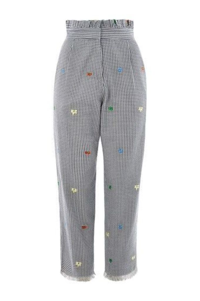 Womens Embroidered Gingham Trousers - Multi, Multi