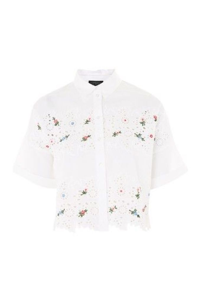 Womens Embroidered Cutwork Shirt - White, White