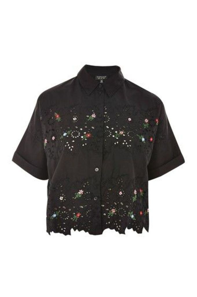 Womens Embroidered Cutwork Shirt - Black, Black