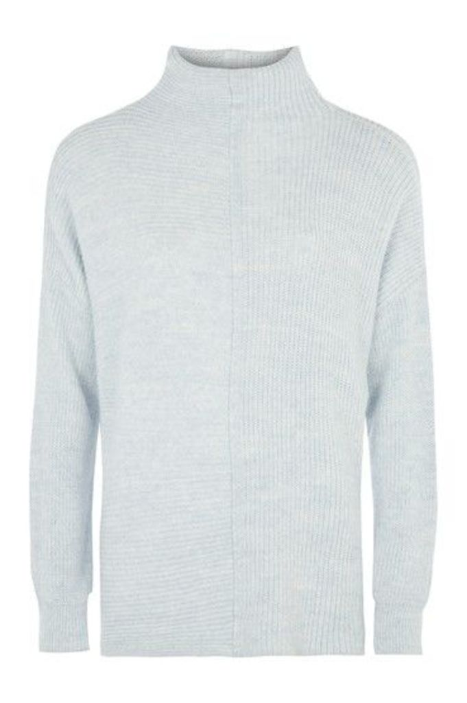 Womens 1/2 and 1/2 Rib Jumper - Pale Blue, Pale Blue
