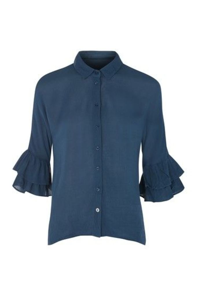 Womens Ruffle Sleeve Shirt - Navy Blue, Navy Blue