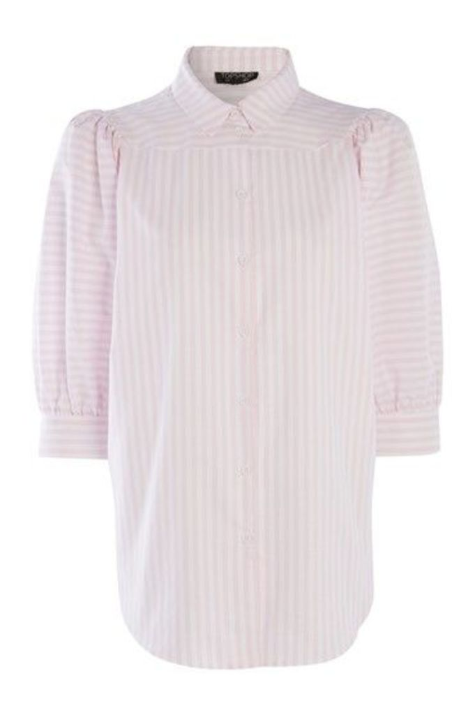 Womens Stripe Puff Sleeve Shirt - Pink, Pink