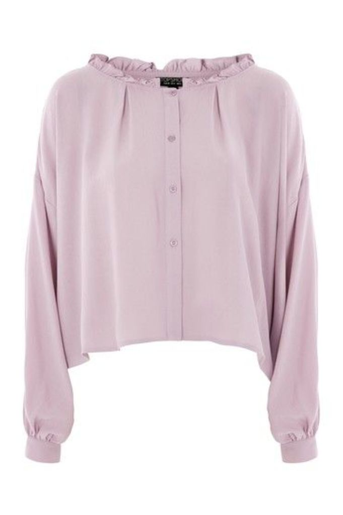 Womens Frill Collar Blouse - Lilac, Lilac