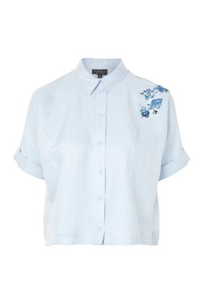 Womens Tiger Embroidered Shirt - Light Blue, Light Blue