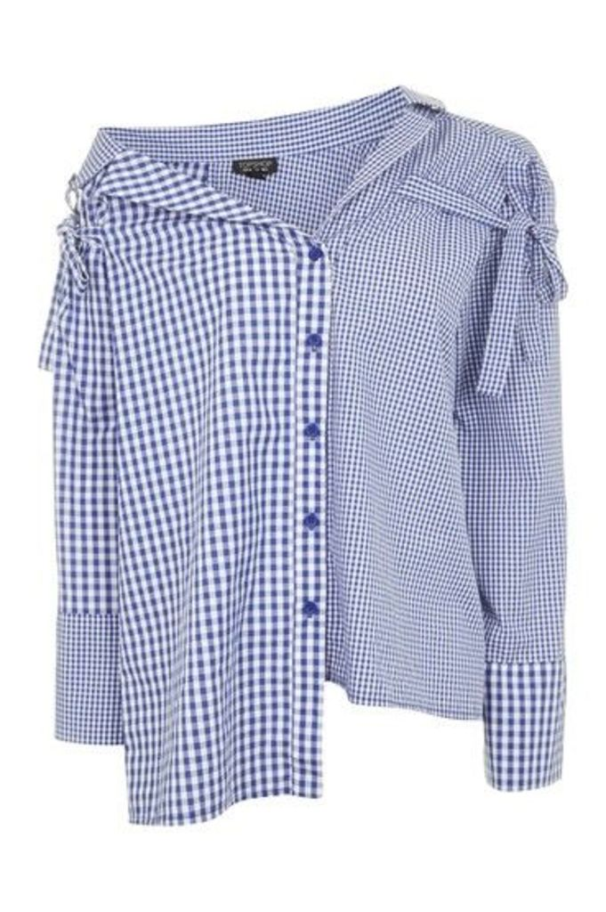 Womens Gingham Re-worked Shirt - Blue, Blue