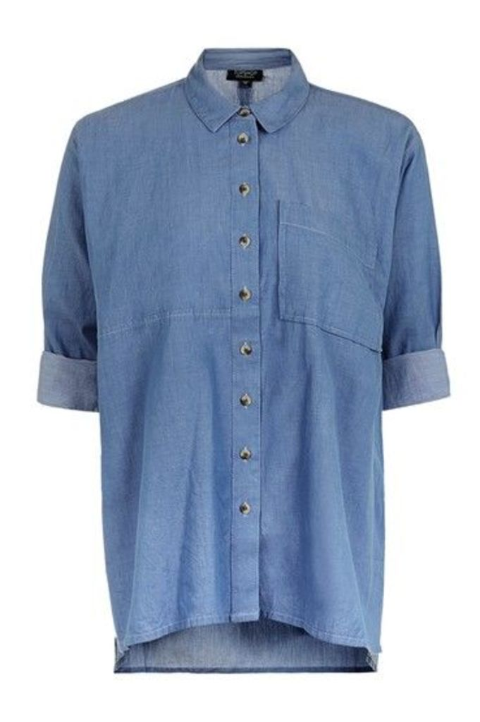 Womens Sheen Chambray Shirt - Blue, Blue