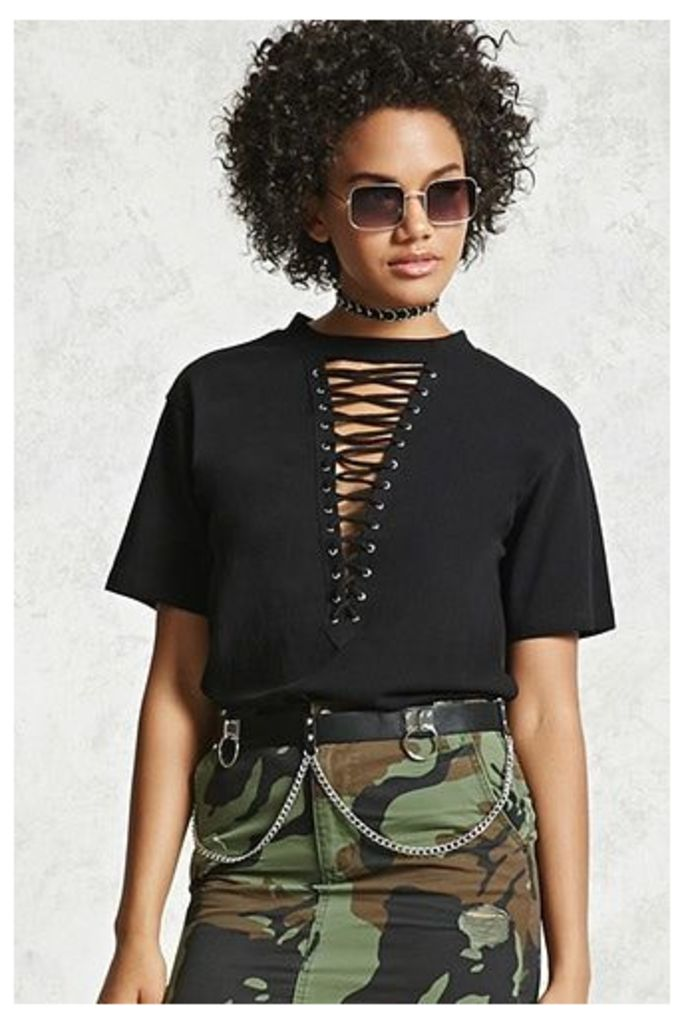 Plunging Lace-Up Tee