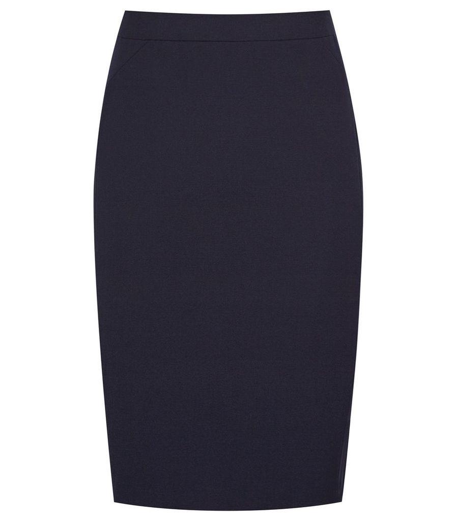 REISS Faulkner Skirt - Womens Tailored Pencil Skirt in Blue