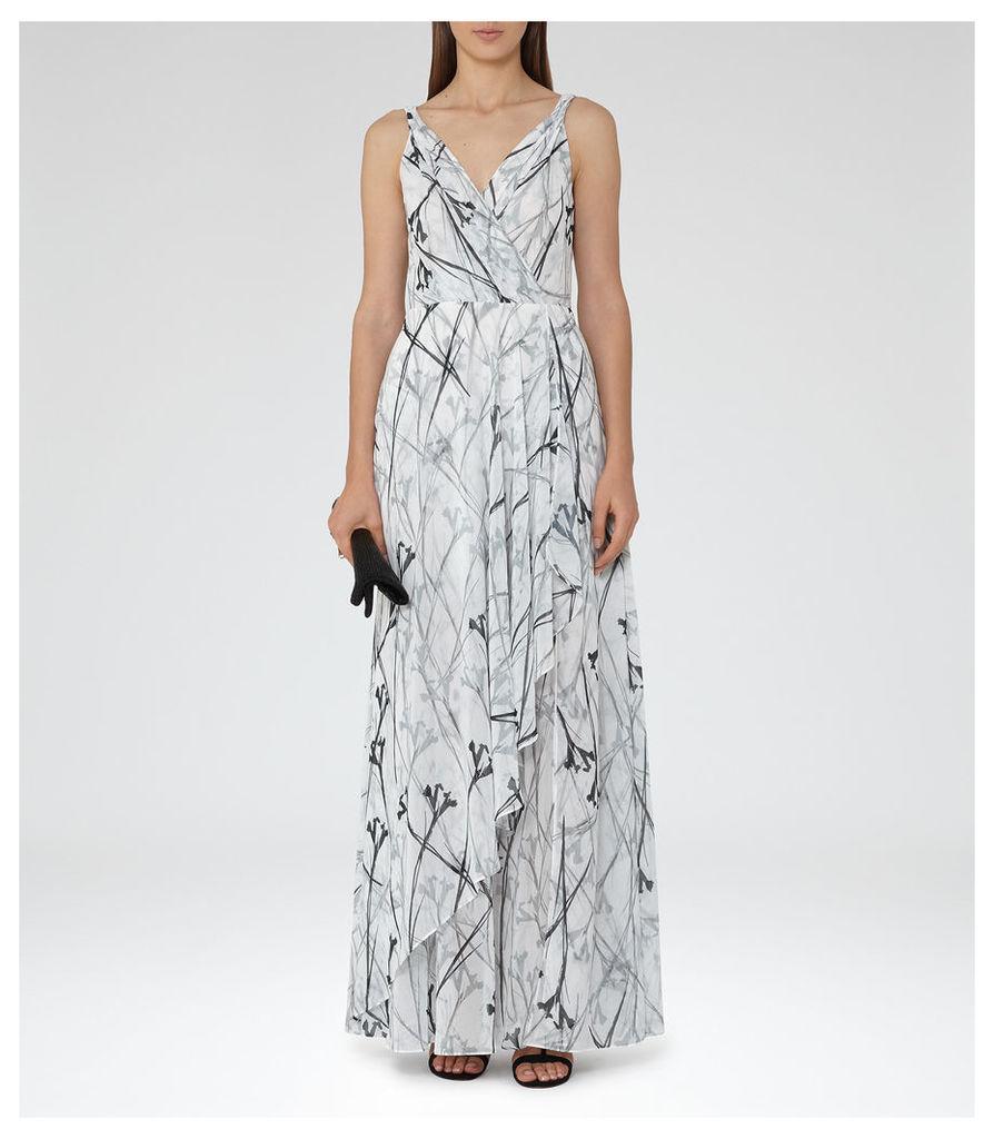 REISS Elle - Womens Printed Maxi Dress in Black