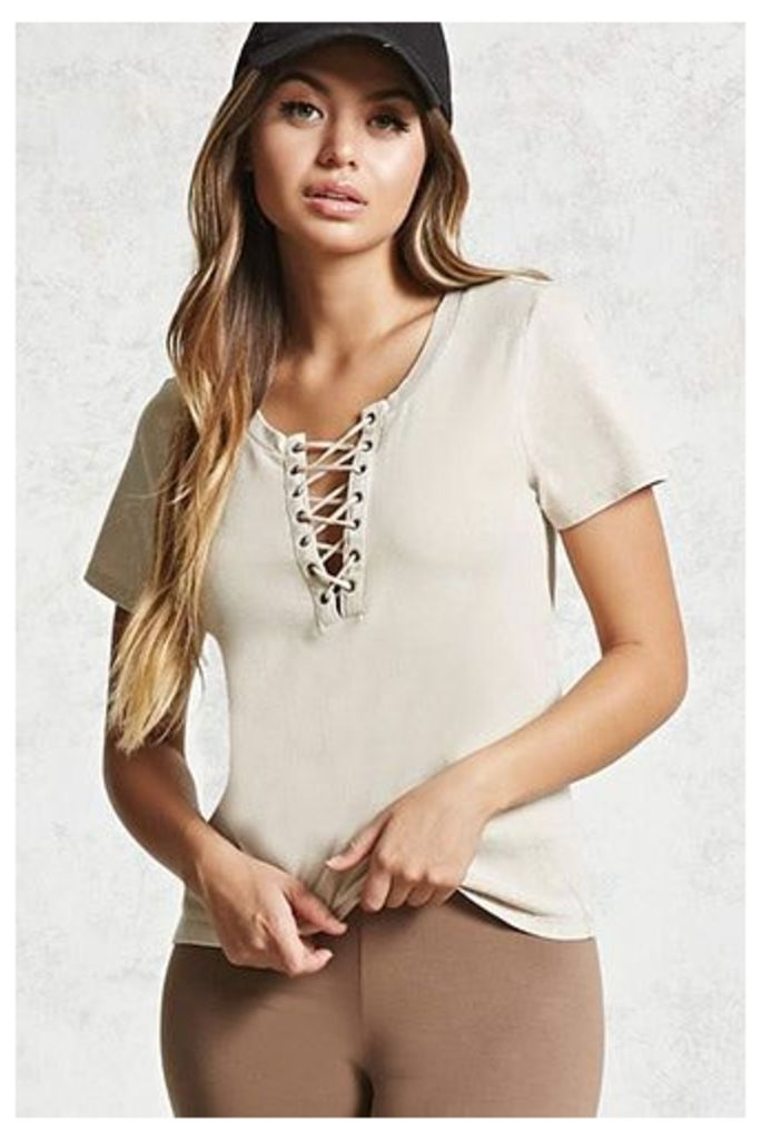 Lace-Up Mineral Wash Tee