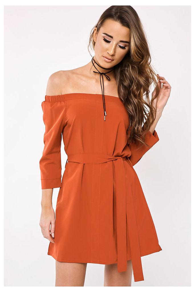 Rust Dresses - Karlina Rust Tie Waist Bardot Dress