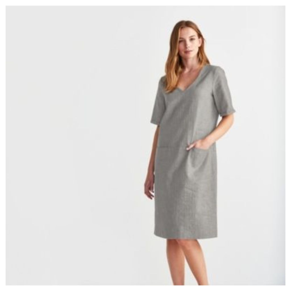 Linen Blend V-Neck Dress