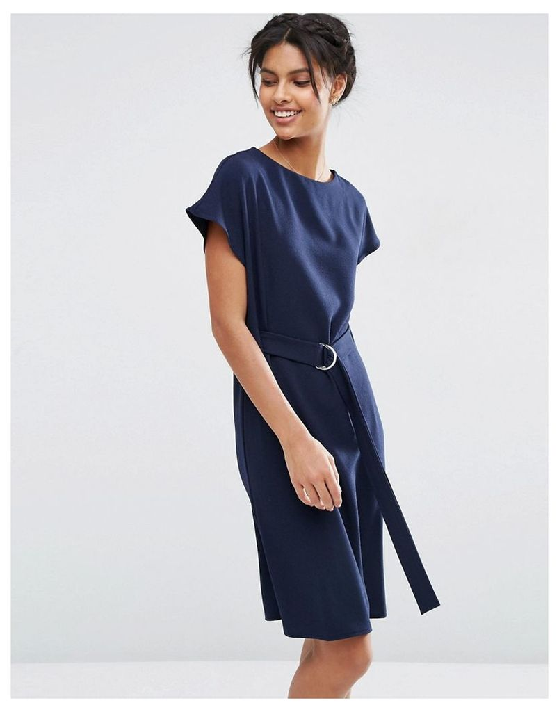ASOS Belted Midi Dress with D-Ring Belt - Navy