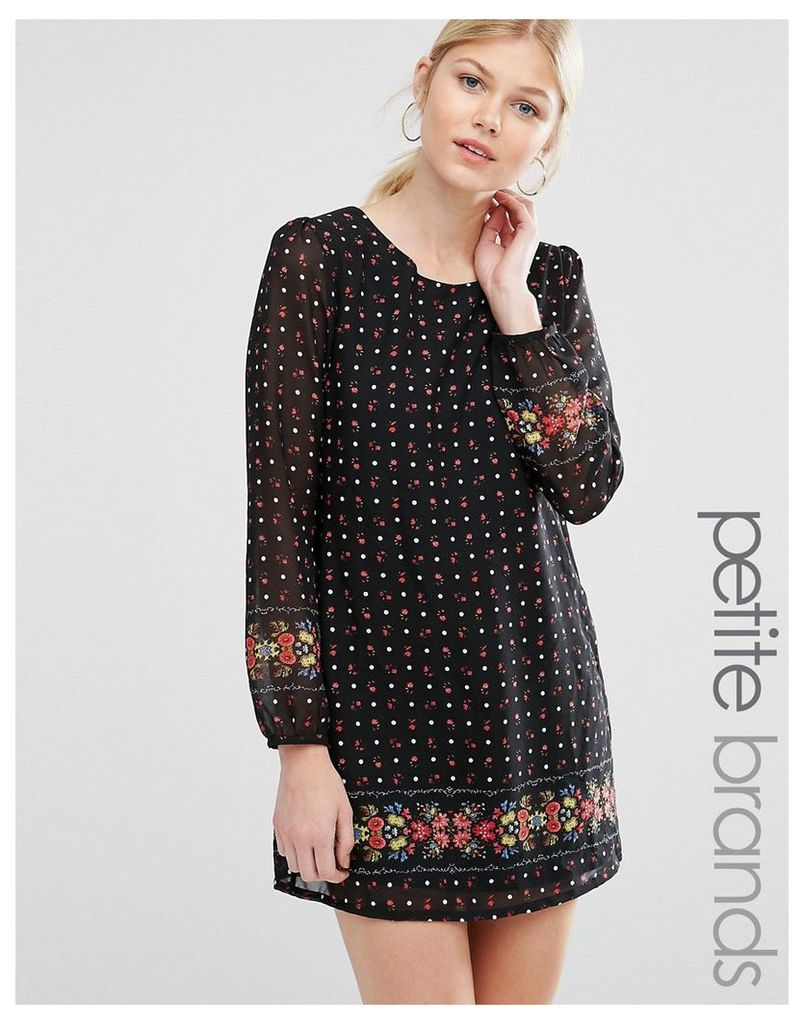 Yumi Petite Shift Dress In Floral Polka Border Print - Black