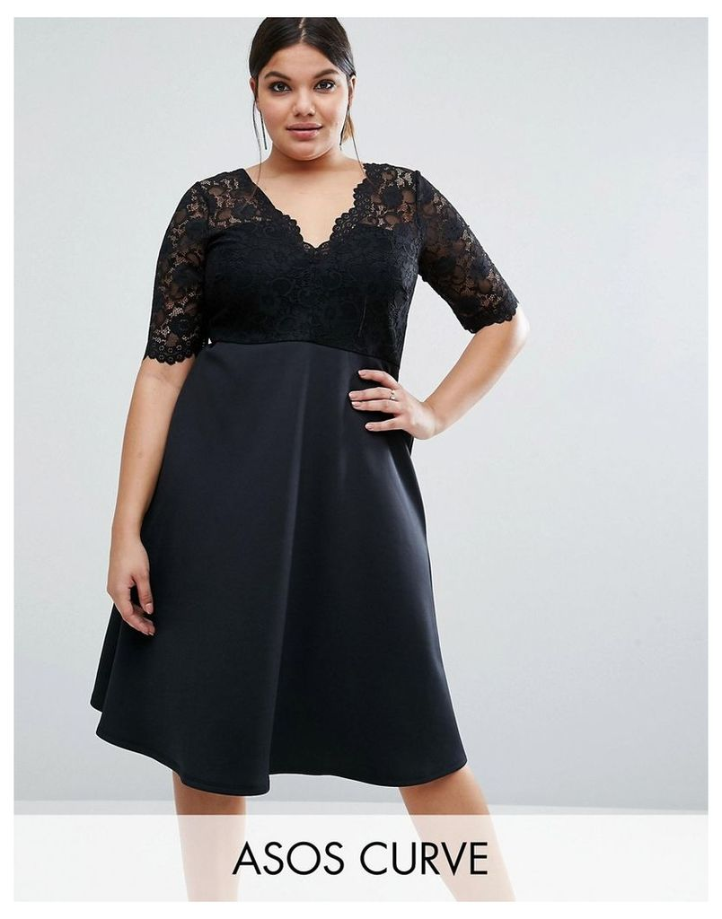 ASOS CURVE Midi Skater Dress with Scuba Skirt and Lace Top - Black
