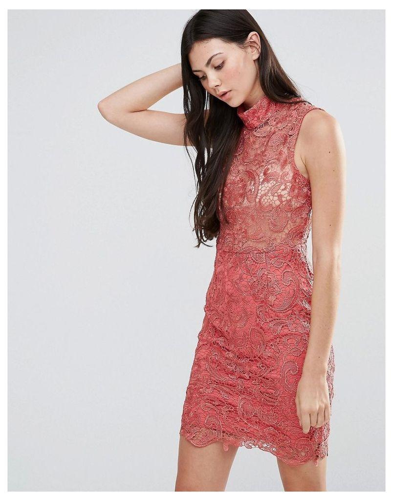 Pixie & Diamond High Neck Lace Mini Dress - Dusty pink