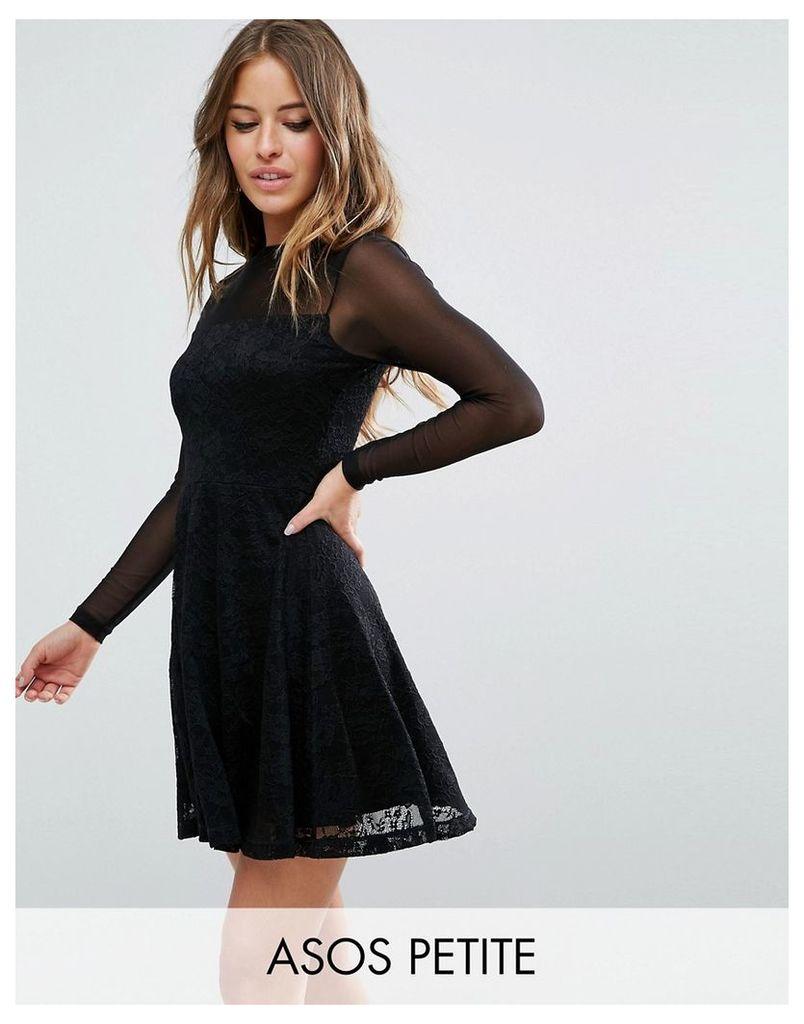 ASOS PETITE Mesh Top Lace Skater Mini Dress - Black