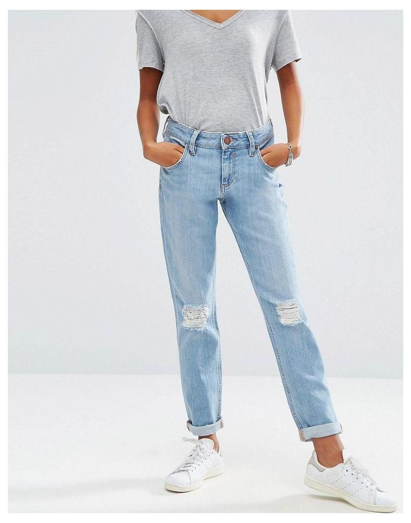 ASOS Kimmi Shrunken Boyfriend Jeans in Esme Mid Stonewash Blue with Rips - Midwash blue