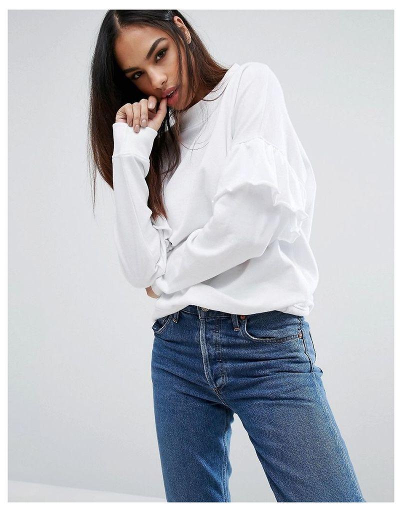 Missguided Frill Sleeve Sweatshirt - White