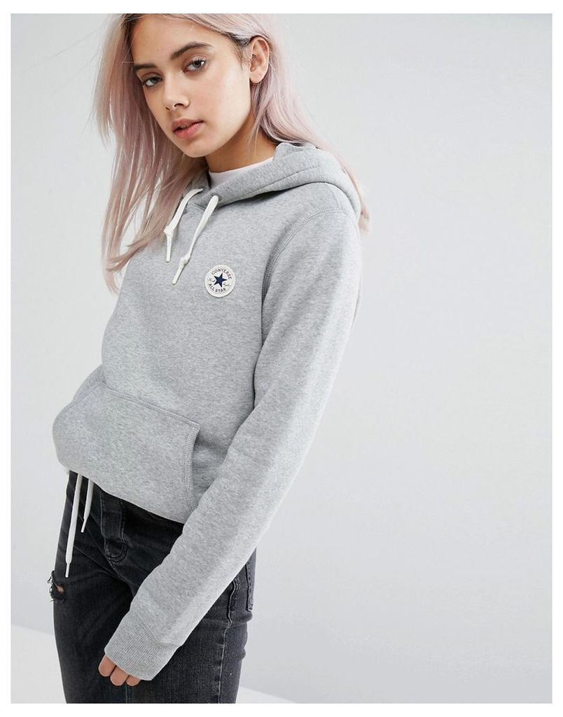 Converse Hoodie With Chuck Patch In Grey - Grey heather