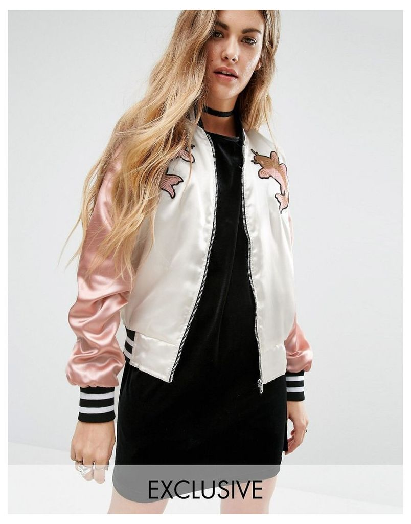 Reclaimed Vintage Luxury Trophy Bomber Jacket With Embroidered Patches - Ivory/pink