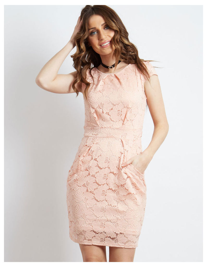 RAMIRA - Floral Lace Tie Back Pleated Dress Pink