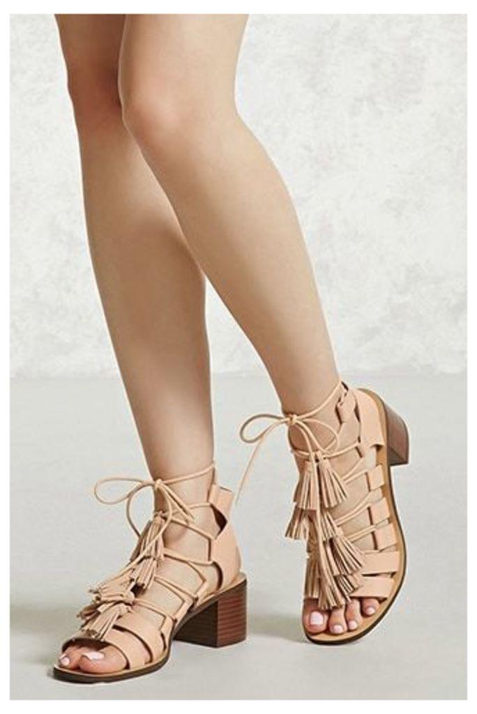 Tasseled Faux Leather Heels