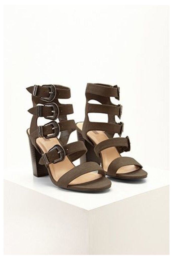 Faux Suede Caged Buckle Heels