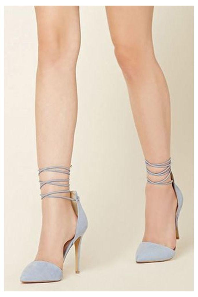 Faux Suede Ankle-Wrap Heels