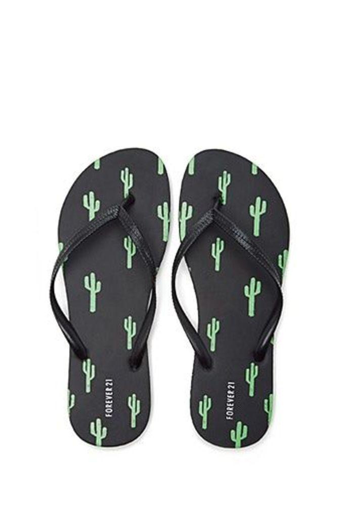 Cactus Print Flip Flops