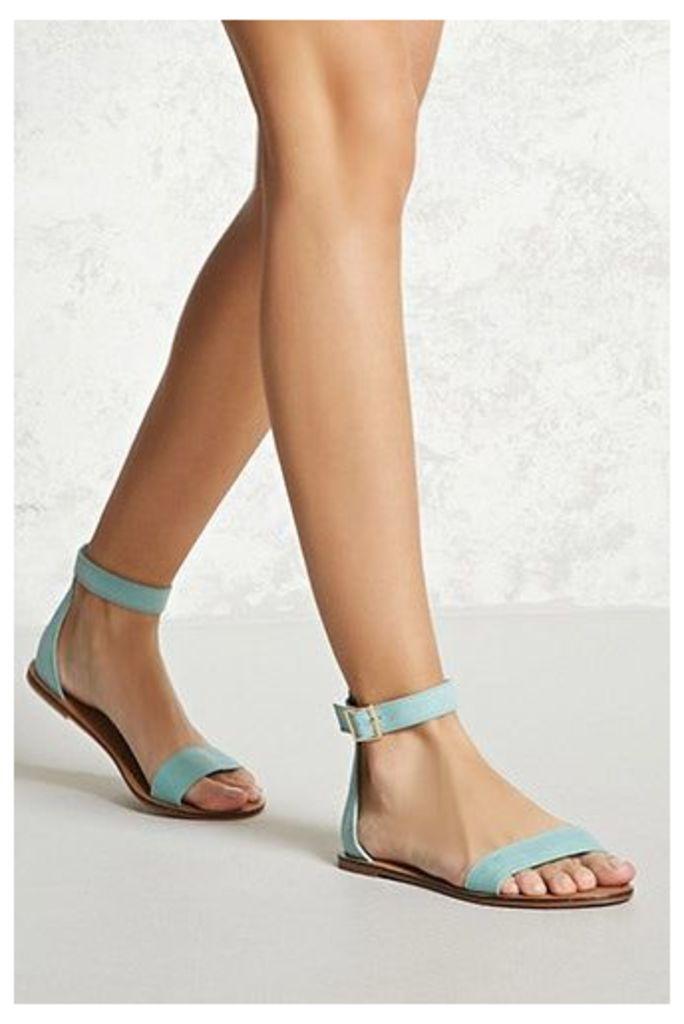 Faux Suede Ankle-Strap Sandals
