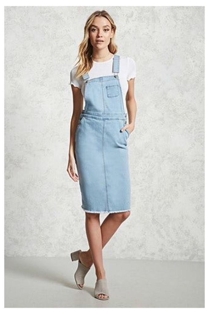 Frayed Denim Overall Dress