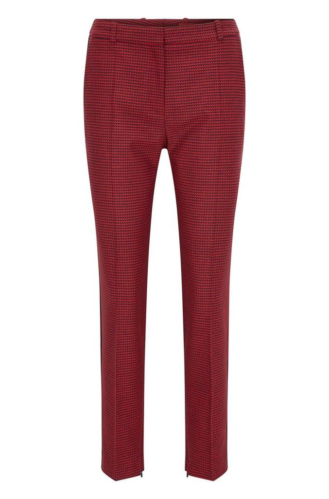 Slim-fit trousers in micro-pattern fabric