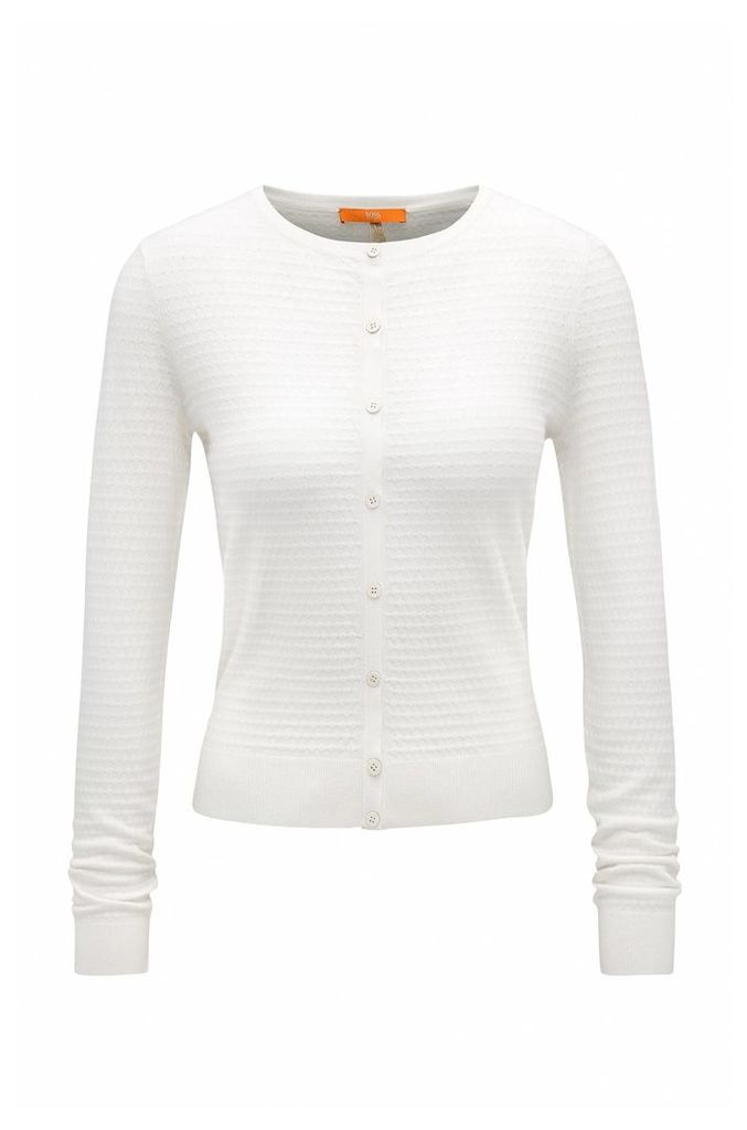 Lightweight crew-neck cardigan with knitted structure