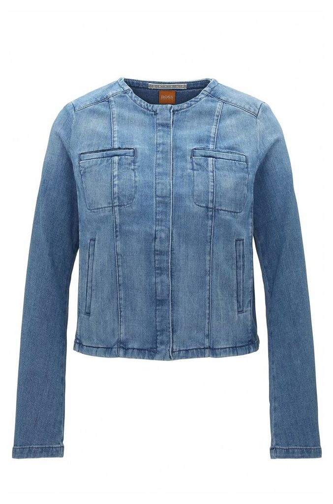 Regular-fit jacket in stone-washed denim