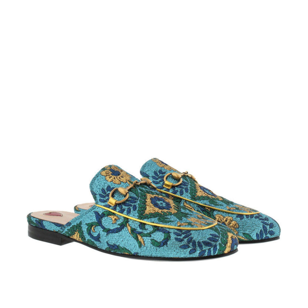 Gucci Loafers & Slippers - Princetown Slipper Lamé Brocade Azzuro/Multicolor - in gold - Loafers & Slippers for ladies