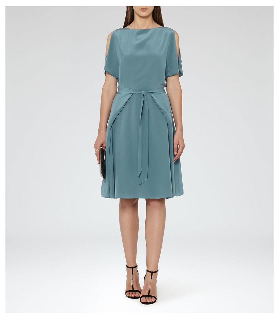REISS Mira - Womens Cold-shoulder Dress in Blue