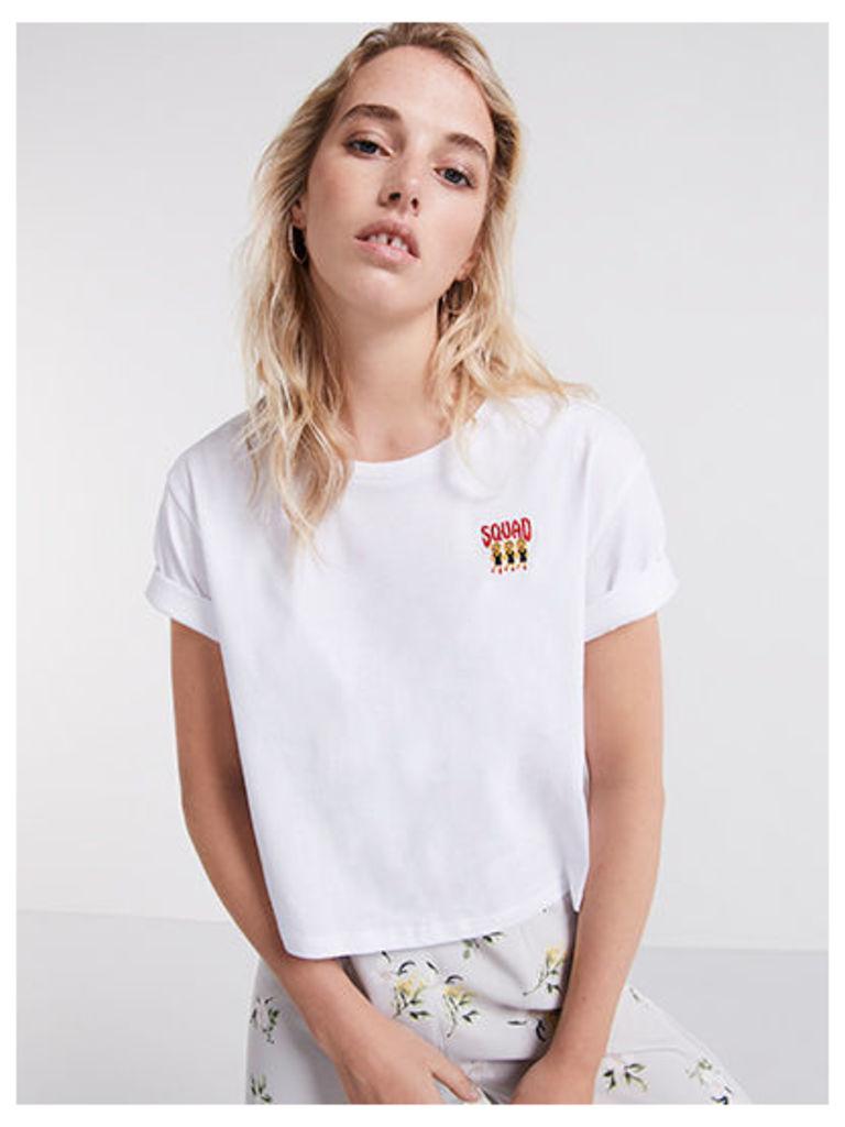 White Embroidered Squad Logo T-Shirt