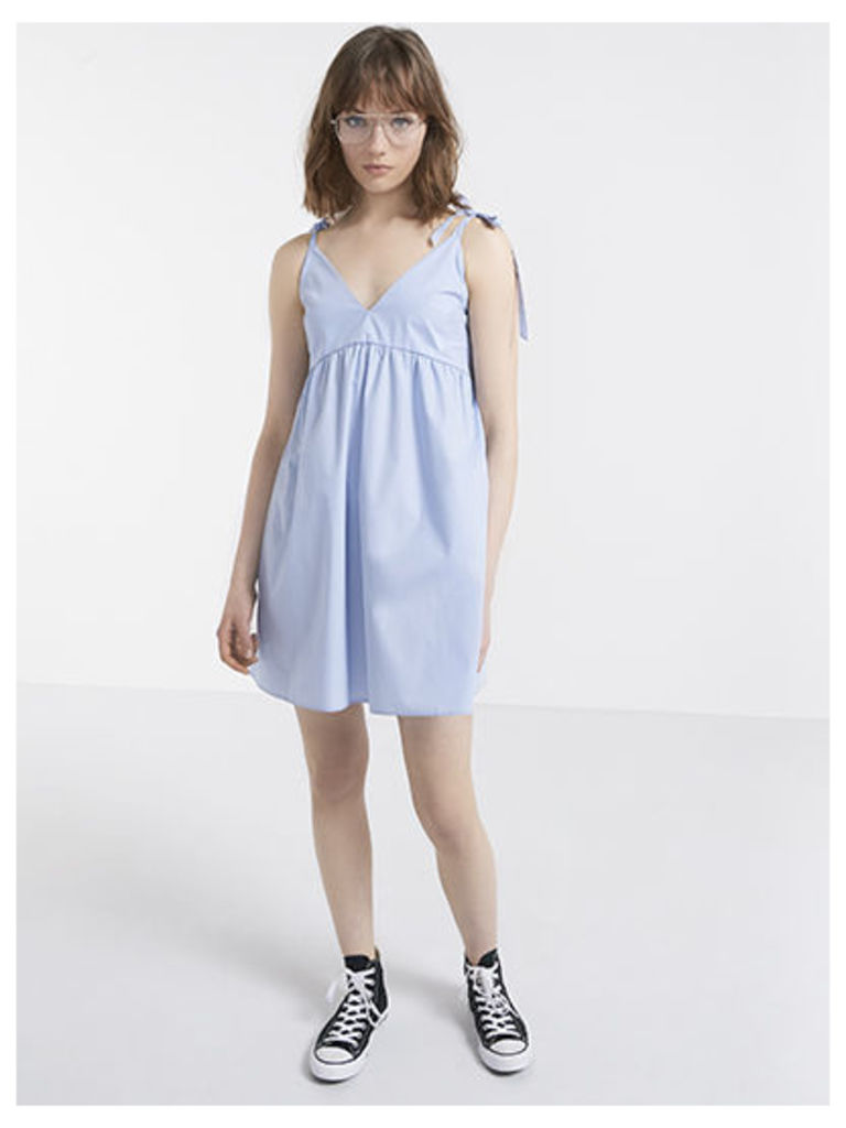 Blue Cotton Poplin Tie Shoulder A-Line Dress