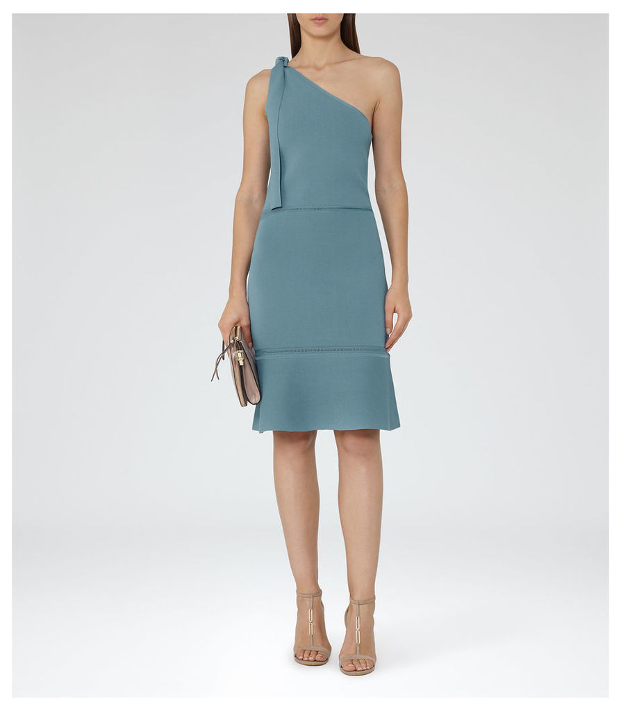 REISS Beatrice  - Womens One-shoulder Knitted Dress in Blue