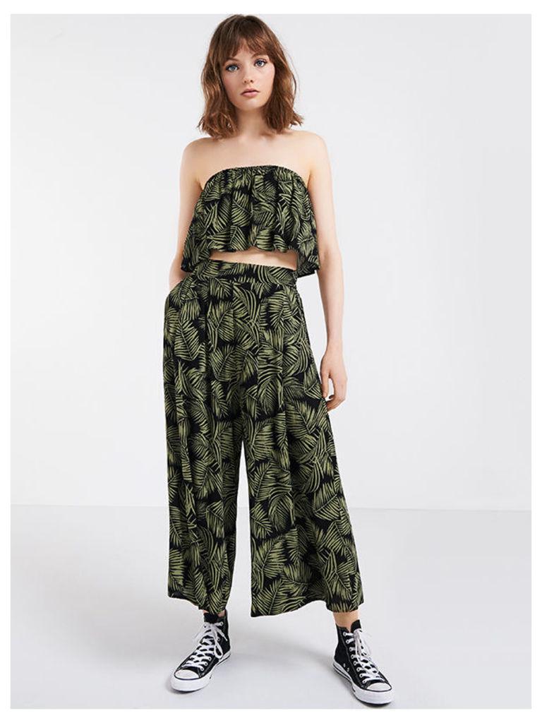Green Palm Print Wide Leg Trousers