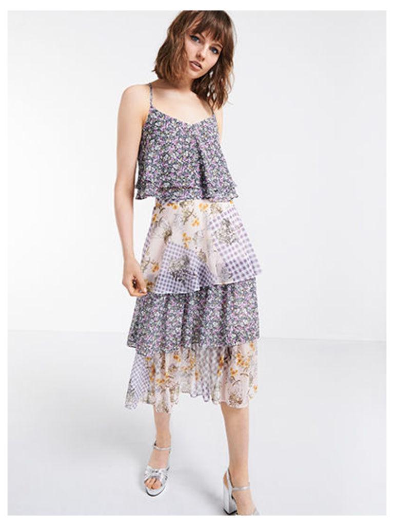 Lilac Mixed Print Tiered Ruffle Midi Skirt