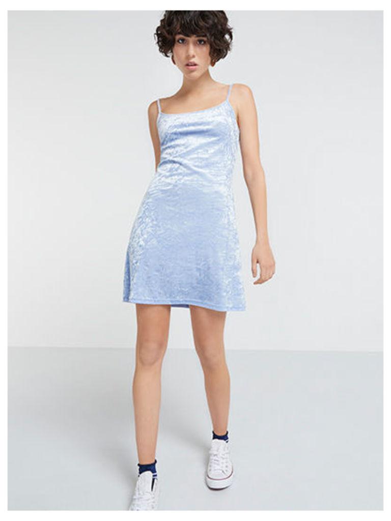 Blue Crushed Velvet Cami Mini Dress