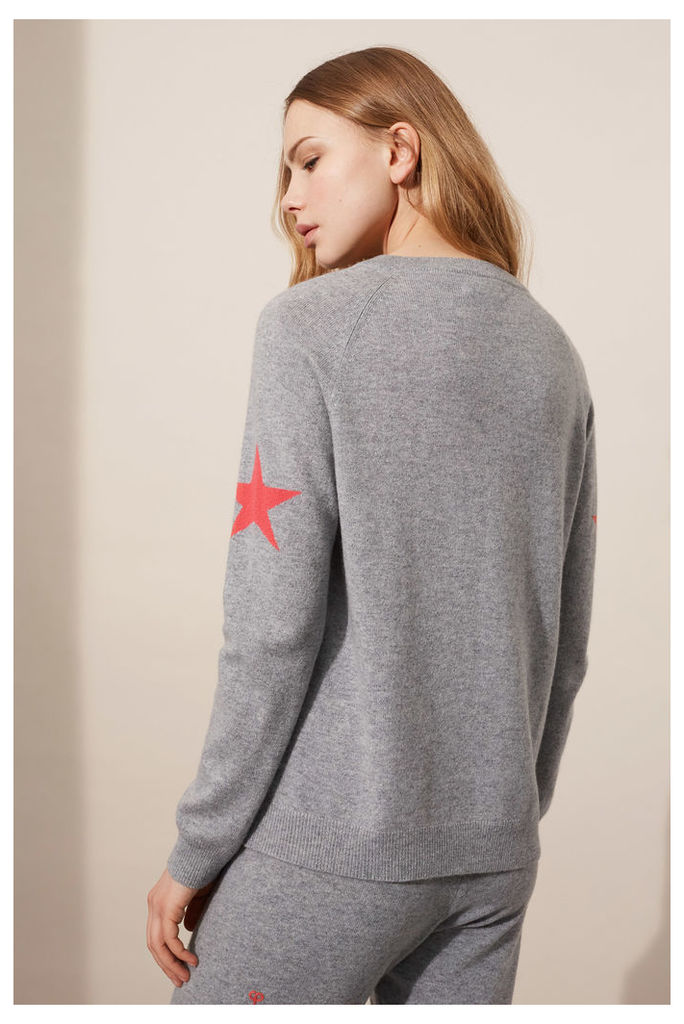 EXCLUSIVE Grey Star Sleeve Sweater