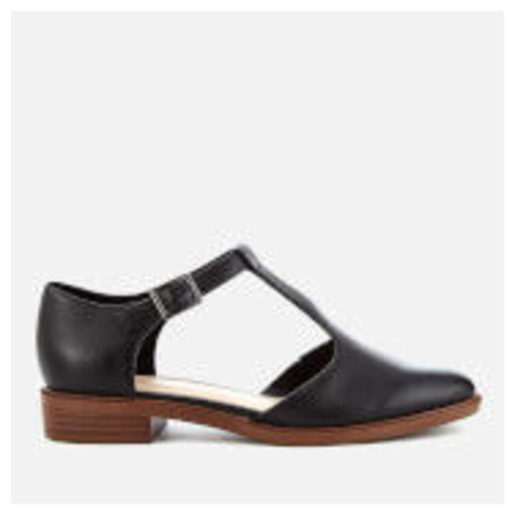 Clarks Women's Taylor Palm Leather T-Bar Flats - Black
